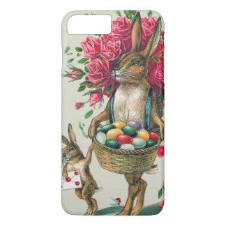 イースターのウサギのパパの子供のばら色のバスケットの卵 iPhone 8 PLUS/7 PLUSケース