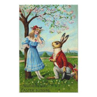 イースターのウサギのビクトリアンな女性の桜 フォトプリント