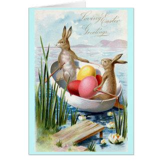 イースターのウサギのボートの挨拶状 カード