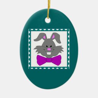 イースターのウサギのポートレート セラミックオーナメント
