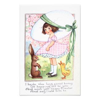 イースターのウサギの卵のアヒルのフラワー・ガール フォトプリント