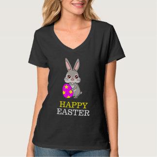 イースターのウサギの女性のHanesのNano V首のTシャツ Tシャツ
