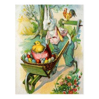 イースターのウサギの旧式な郵便はがきの一輪車のひよこ ポストカード