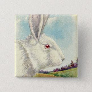 イースターのウサギの白い白子分野 5.1CM 正方形バッジ