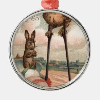 イースターのウサギの着色された卵のひよこの支柱 メタルオーナメント