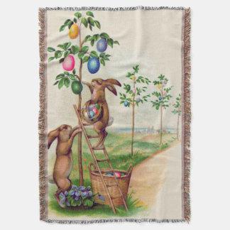 イースターのウサギの着色された卵の木 スローブランケット