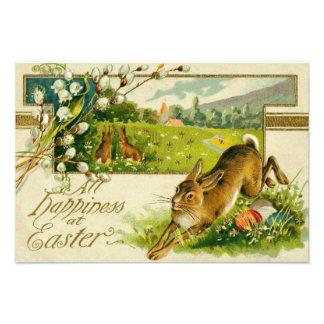 イースターのウサギの着色された卵教会 フォトプリント