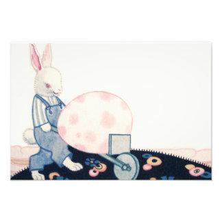 イースターのウサギの農家の手押し車の卵 フォトプリント