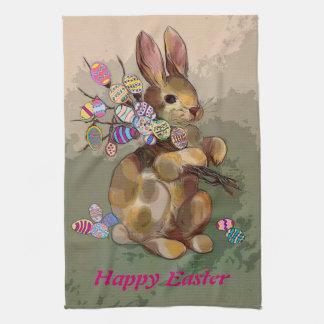 イースターのウサギは卵を持って来ます キッチンタオル