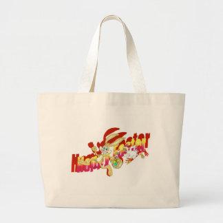 イースターのウサギを追跡している鶏 ラージトートバッグ