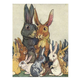 イースターのウサギ家族の郵便はがき ポストカード