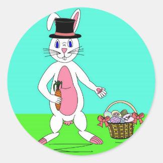 イースターのウサギ ラウンドシール
