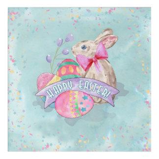 イースターのウサギ、卵および紙吹雪ID377 アクリルウォールアート