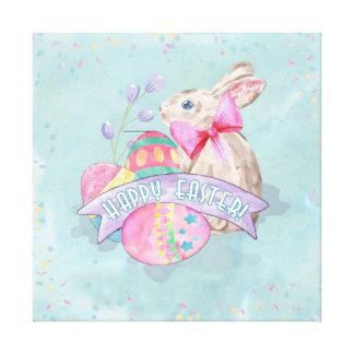 イースターのウサギ、卵および紙吹雪ID377 キャンバスプリント