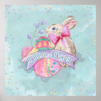 イースターのウサギ、卵および紙吹雪ID377 ポスター