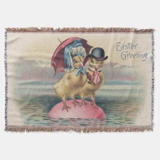 イースターひよこによって着色される卵の傘の海 スローブランケット