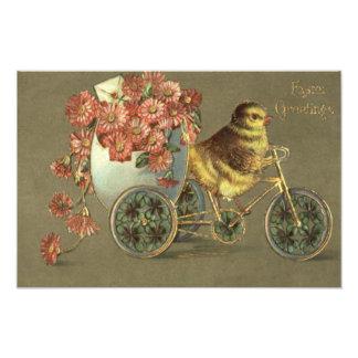 イースターひよこの卵の菊のバイクのラブレター フォトプリント