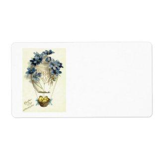イースターひよこの熱気の気球の青の花 ラベル