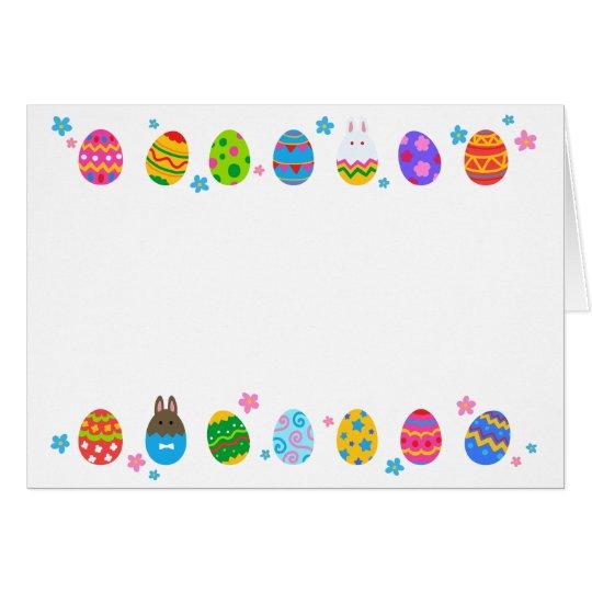【イースターエッグとうさぎ 横並び】 Easter Eggs & Rabbits カード