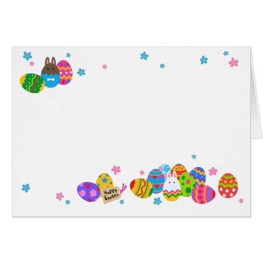 【イースターエッグと兎 重なり(ふちギザ】Easter Eggs & Rabbits (jagged カード