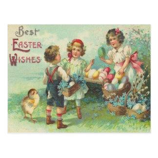 イースターエッグのイースターカードを持つヴィンテージの子供 ポストカード