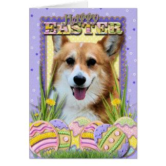 イースターエッグのクッキー-コーギー カード