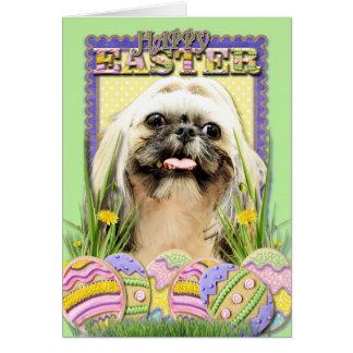 イースターエッグのクッキー-シーズー(犬) Tzu -オパール カード