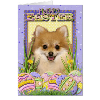 イースターエッグのクッキー-ポメラニア犬 カード