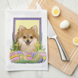 イースターエッグのクッキー-ポメラニア犬 キッチンタオル