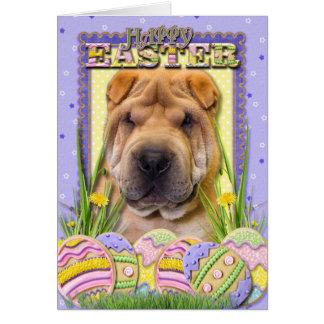 イースターエッグのクッキー- Shar Pei カード