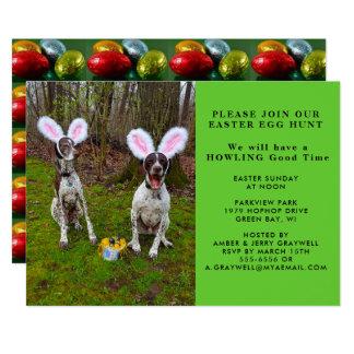 イースターエッグの狩りおよびパーティー犬の招待状 カード