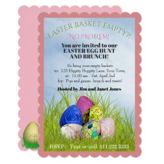 イースターエッグの狩りおよびブランチの花の写真 カード