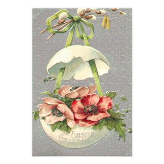 イースターエッグの花の緑の弓 フォトプリント