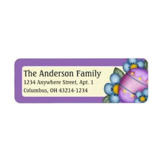 イースターエッグの青い花のイースター紫色の宛名ラベル 返信用宛名ラベル