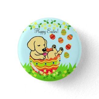 イースターエッグの黄色のラブラドルの子犬の漫画 バッジ