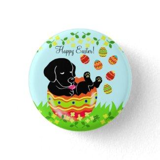 イースターエッグの黒のラブラドルの子犬の漫画 ピンバック