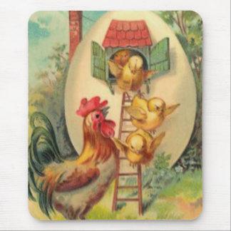 イースターオンドリのひよこの卵の巣箱 マウスパッド