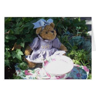 イースターテディー・ベアのティーセットのノートの挨拶状の写真 カード