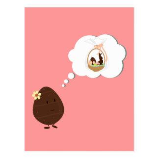 イースターバスケットのチョコレートの卵の考えること ポストカード