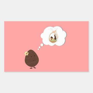イースターバスケットのチョコレートの卵の考えること 長方形シール