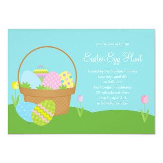 イースターバスケットの卵の狩りのパーティの招待状 12.7 X 17.8 インビテーションカード