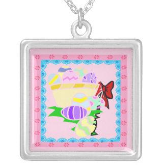 イースターピンクのネックレスでかわいらしい シルバープレートネックレス