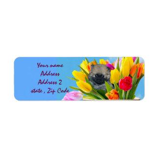 イースターポメラニア犬の住所シール ラベル