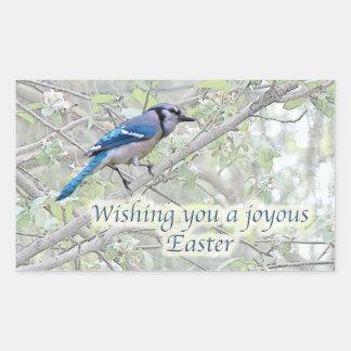 イースター嬉しいアオカケス鳴き鳥 長方形シール