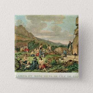 イースター島の島民そして記念碑 5.1CM 正方形バッジ