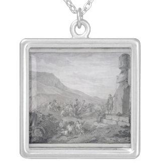 イースター島1786年の島民及び記念碑 シルバープレートネックレス