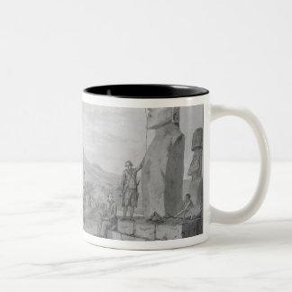 イースター島1786年の島民及び記念碑 ツートーンマグカップ