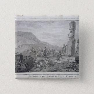イースター島1786年の島民及び記念碑 5.1CM 正方形バッジ