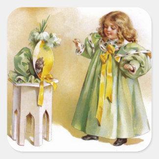 イースター帽子のステッカーのヴィンテージの小さな女の子及び子ネコ スクエアシール