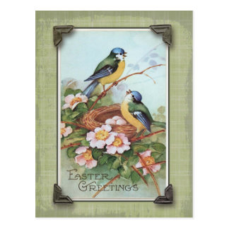 イースター挨拶の青い鳥のヴィンテージの再生 ポストカード